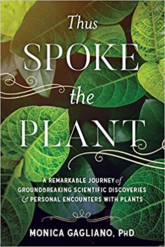 Book cover for Thus Spoke the Plant, which shows a photograph of a display of leaves in several shades of green.